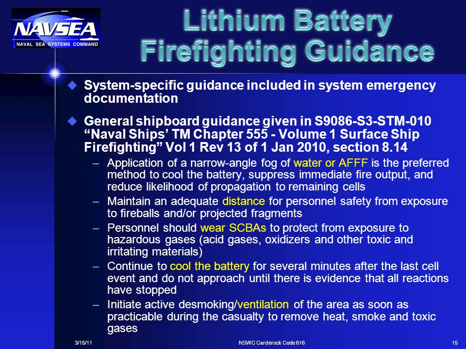 Lithium Battery Firefighting Guidance