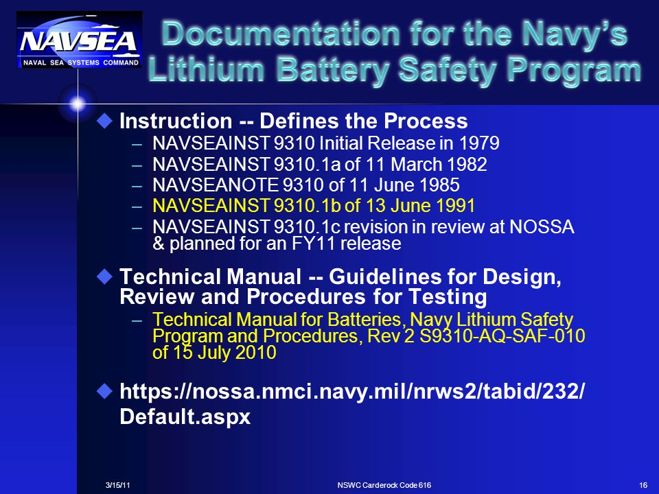 Documentation for the Navy's Lithium Battery Safety Program