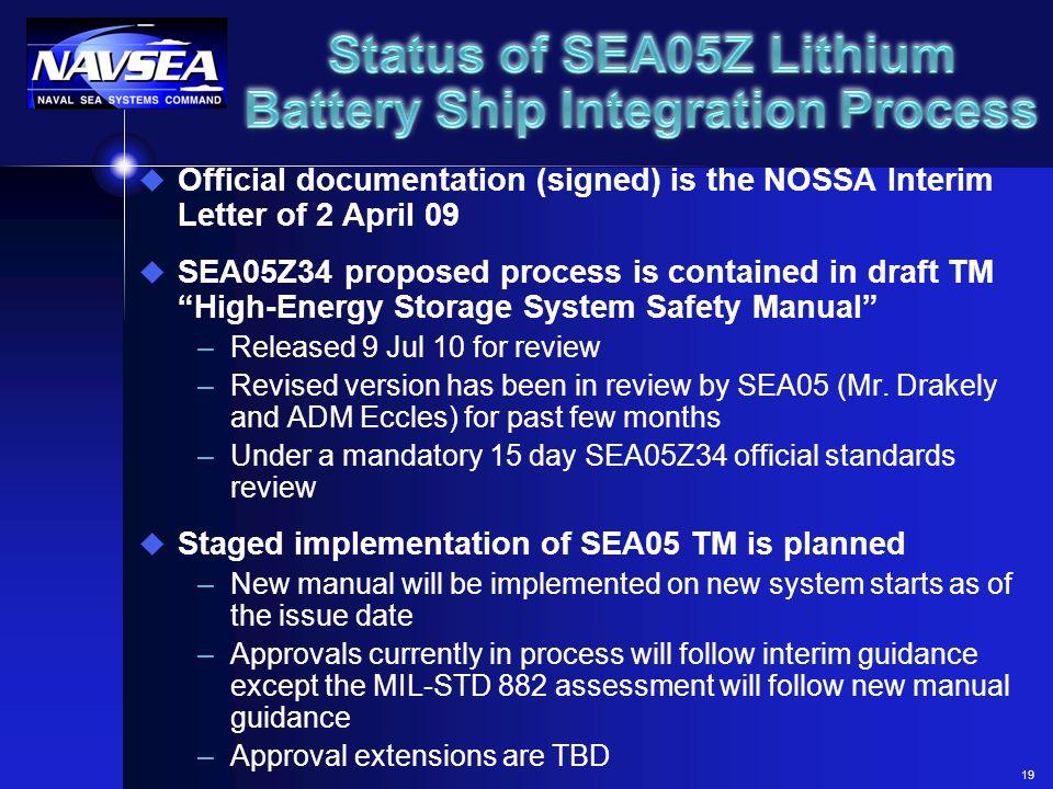 Status of SEA05Z Lithium Battery Ship Integration Process