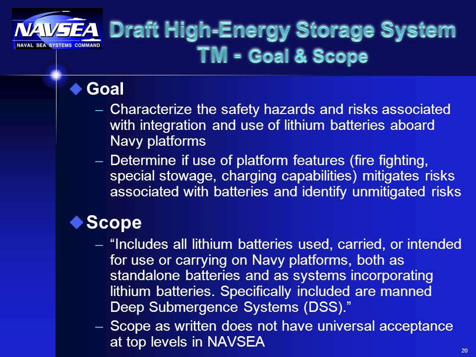 Draft High-Energy Storage System TM - Goal & Scope