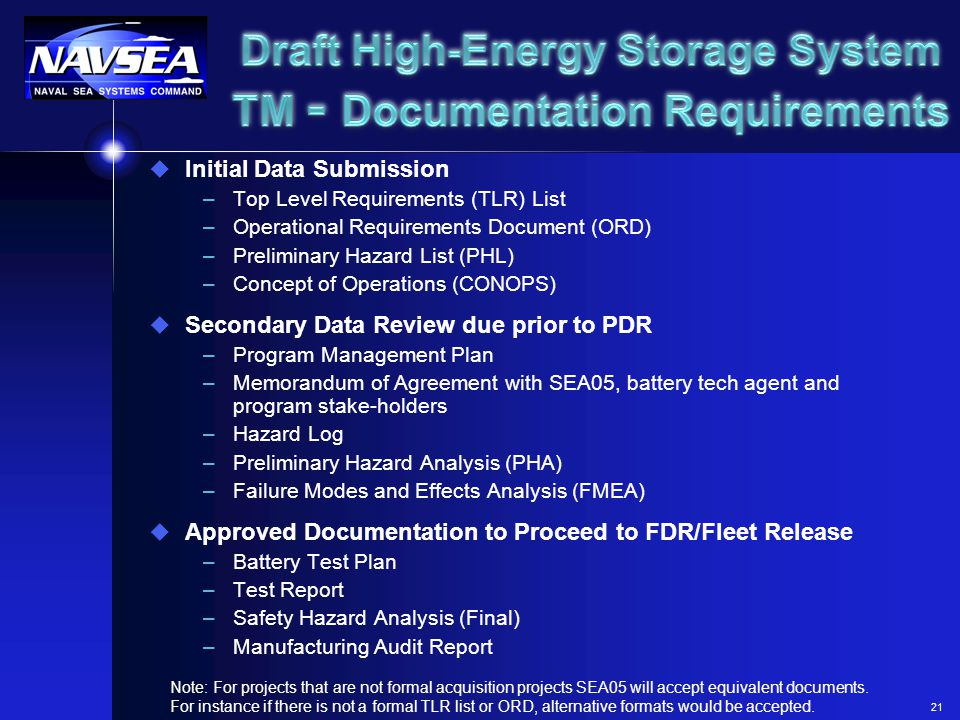 Draft High-Energy Storage System TM - Documentation Requirements