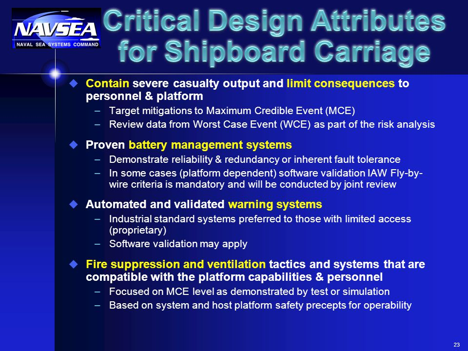 Critical Design Attributes for Shipboard Carriage