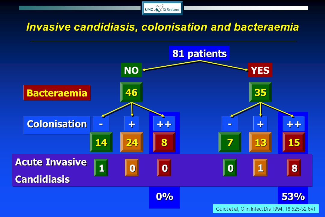 Invasive candidiasis, colonisation and bacteraemia