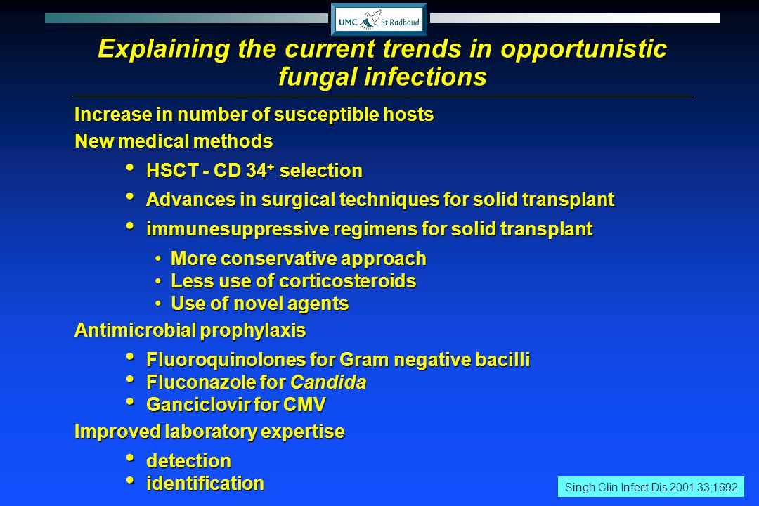 Explaining the current trends in opportunistic fungal infections