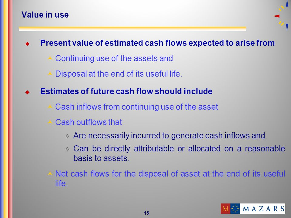 Value in use Present value of estimated cash flows expected to arise from. Continuing use of the assets and.