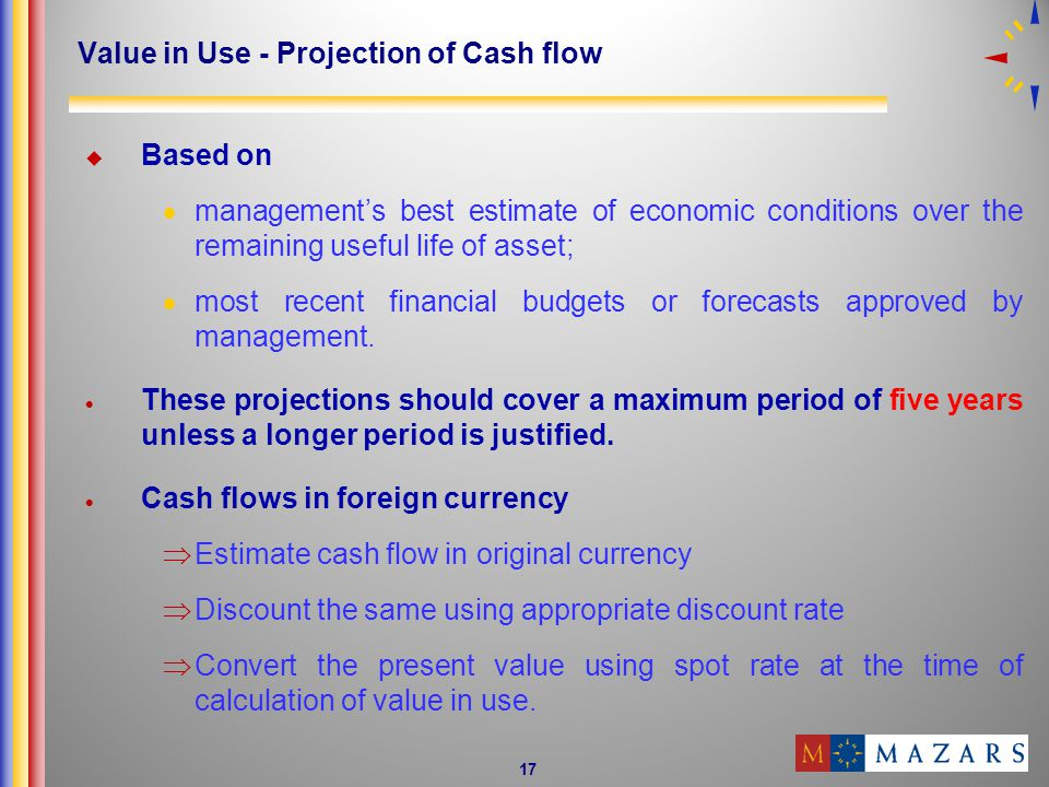 Value in Use - Projection of Cash flow