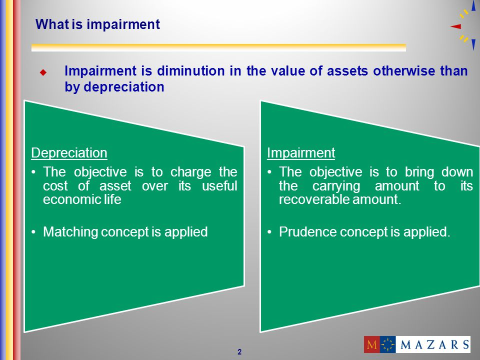 What is impairment Impairment is diminution in the value of assets otherwise than by depreciation.