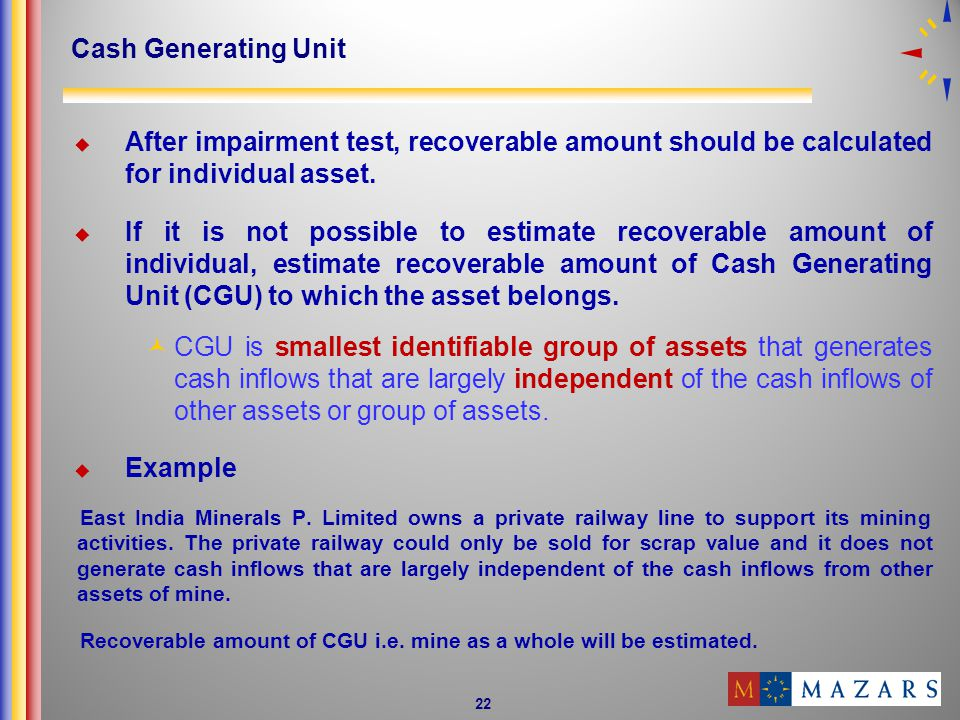 Cash Generating Unit After impairment test, recoverable amount should be calculated for individual asset.