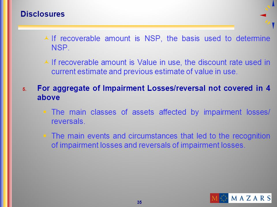 Disclosures If recoverable amount is NSP, the basis used to determine NSP.