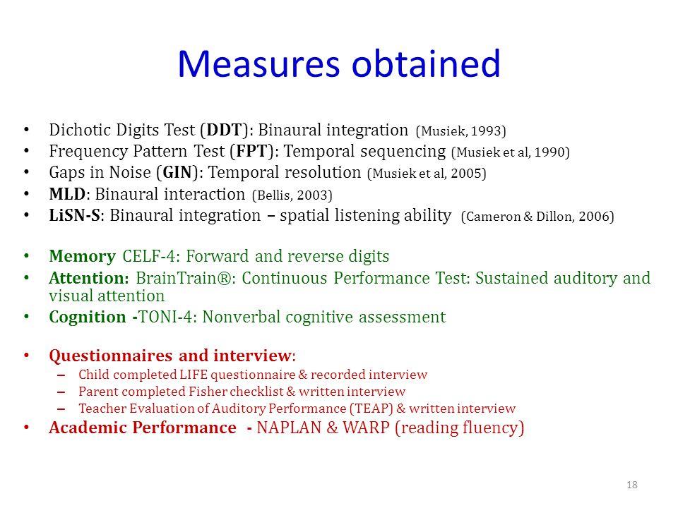 Measures obtained Dichotic Digits Test (DDT): Binaural integration (Musiek, 1993)
