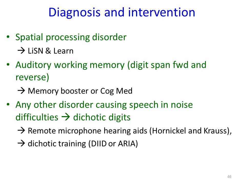 Diagnosis and intervention