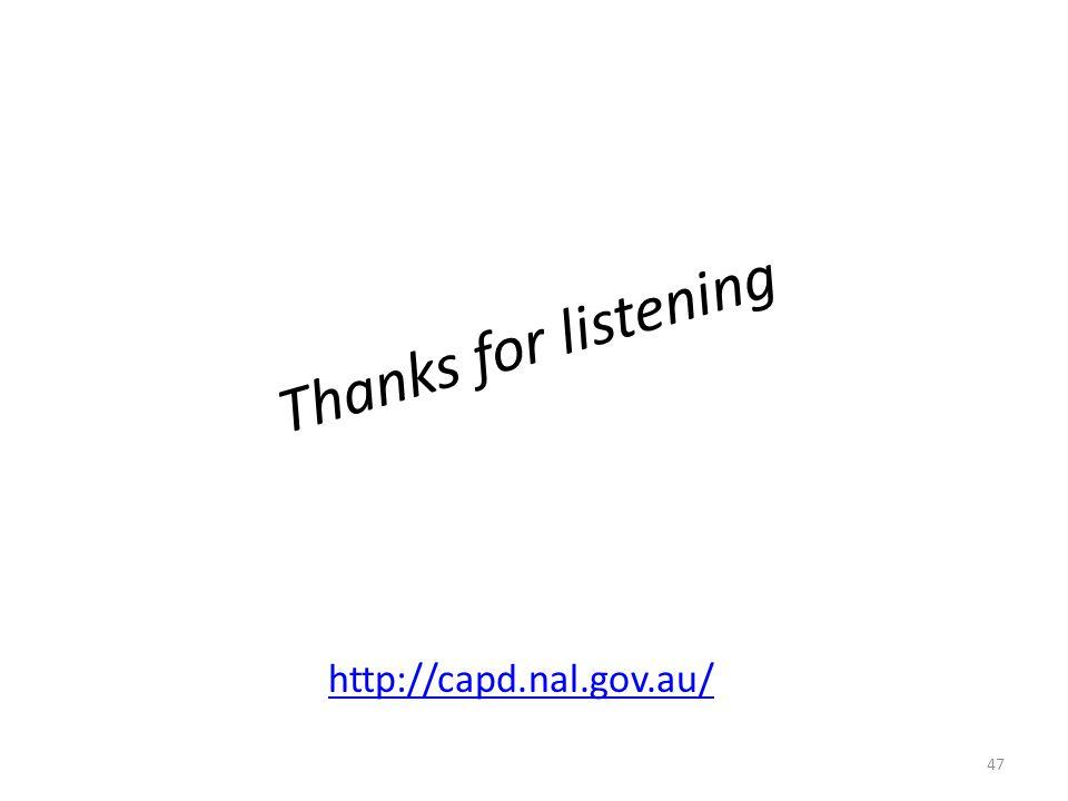 Thanks for listening http://capd.nal.gov.au/
