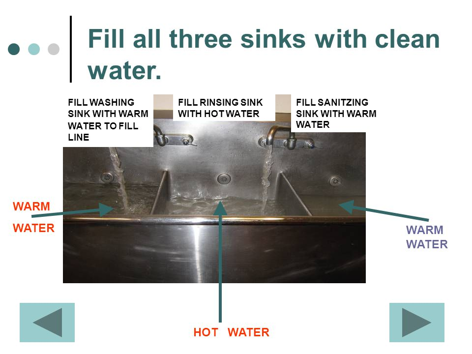 Fill all three sinks with clean water.
