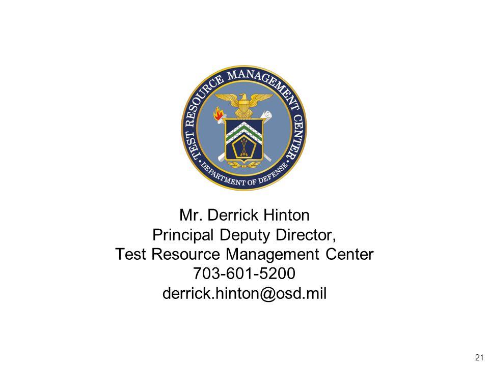 Principal Deputy Director, Test Resource Management Center