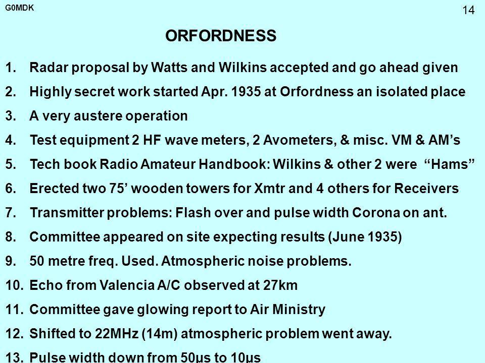 ORFORDNESS Radar proposal by Watts and Wilkins accepted and go ahead given. Highly secret work started Apr. 1935 at Orfordness an isolated place.