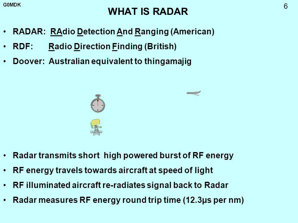 WHAT IS RADAR RADAR: RAdio Detection And Ranging (American)
