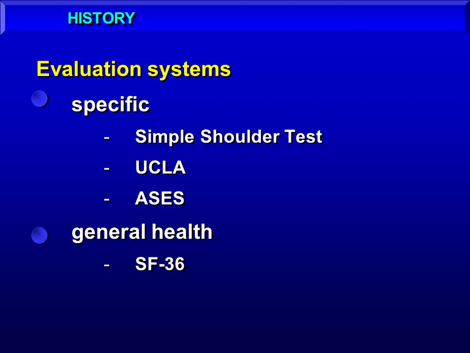 Evaluation systems specific general health Simple Shoulder Test UCLA