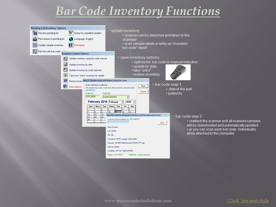 Bar Code Inventory Functions