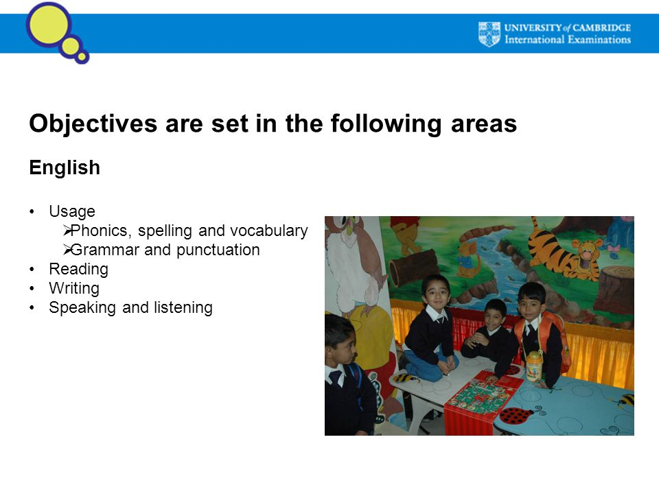 Objectives are set in the following areas