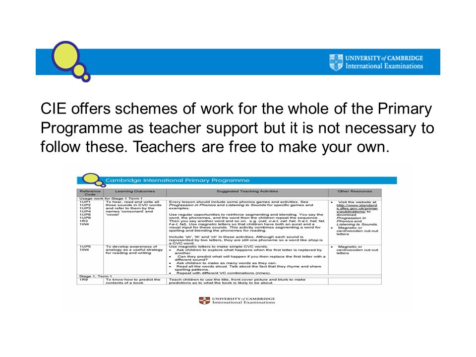CIE offers schemes of work for the whole of the Primary Programme as teacher support but it is not necessary to follow these.