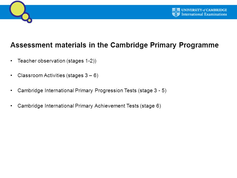 Assessment materials in the Cambridge Primary Programme