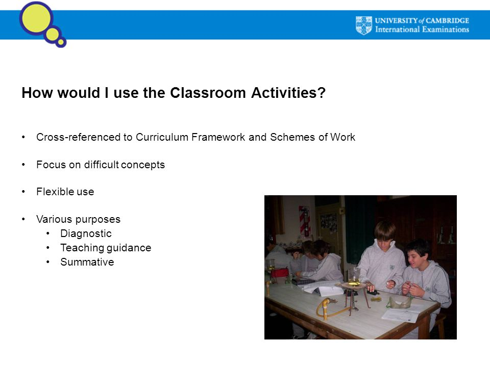 How would I use the Classroom Activities