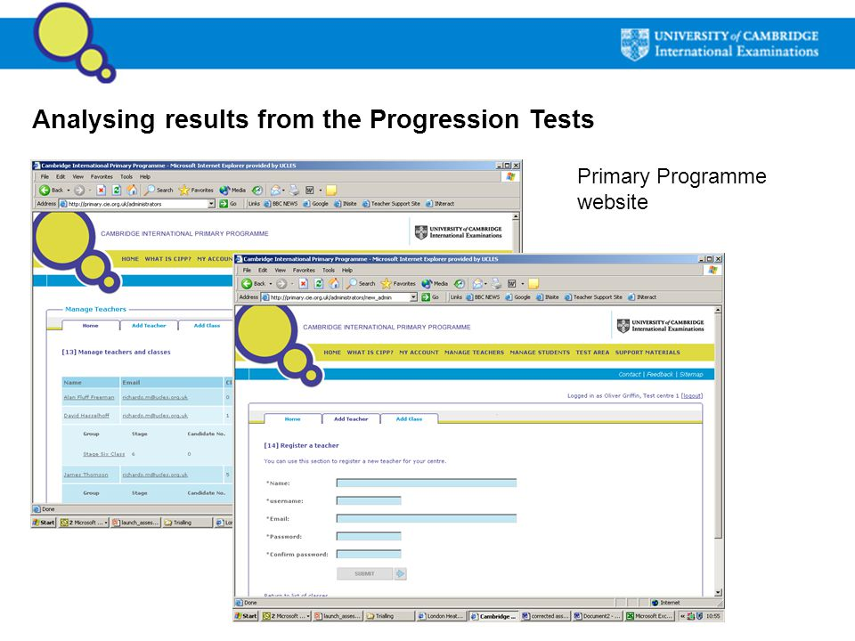 Analysing results from the Progression Tests