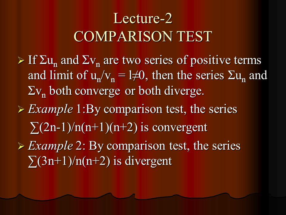 Lecture-2 COMPARISON TEST