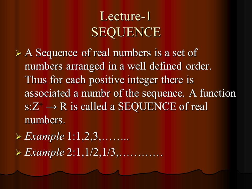Lecture-1 SEQUENCE