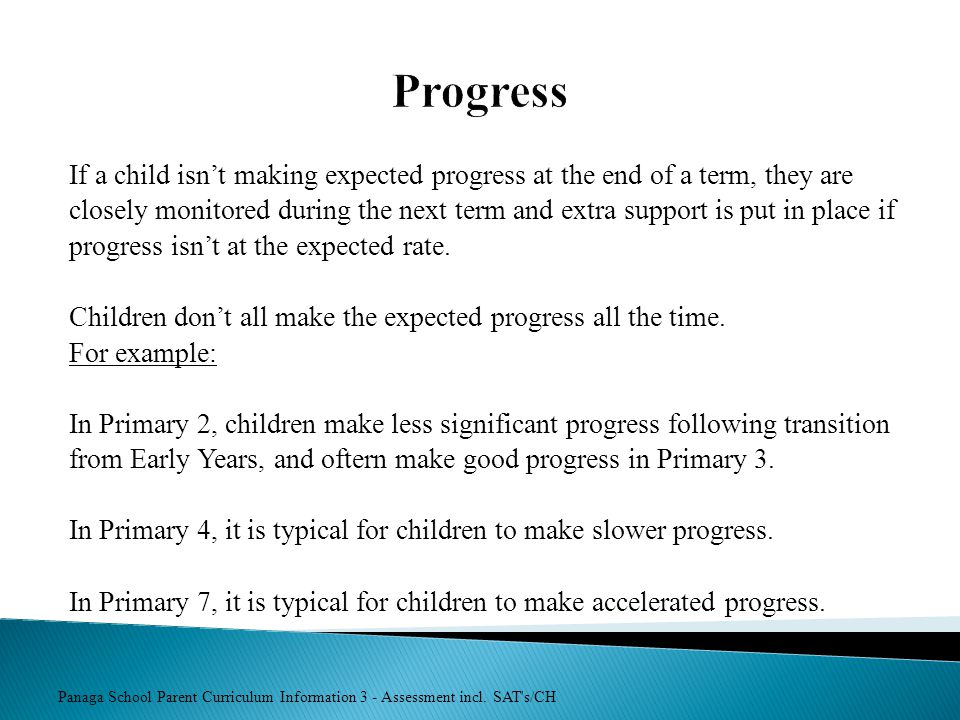 Progress If a child isn't making expected progress at the end of a term, they are.
