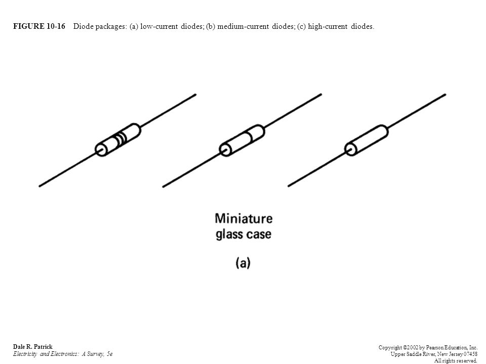 FIGURE 10-16 Diode packages: (a) low-current diodes; (b) medium-current diodes; (c) high-current diodes.
