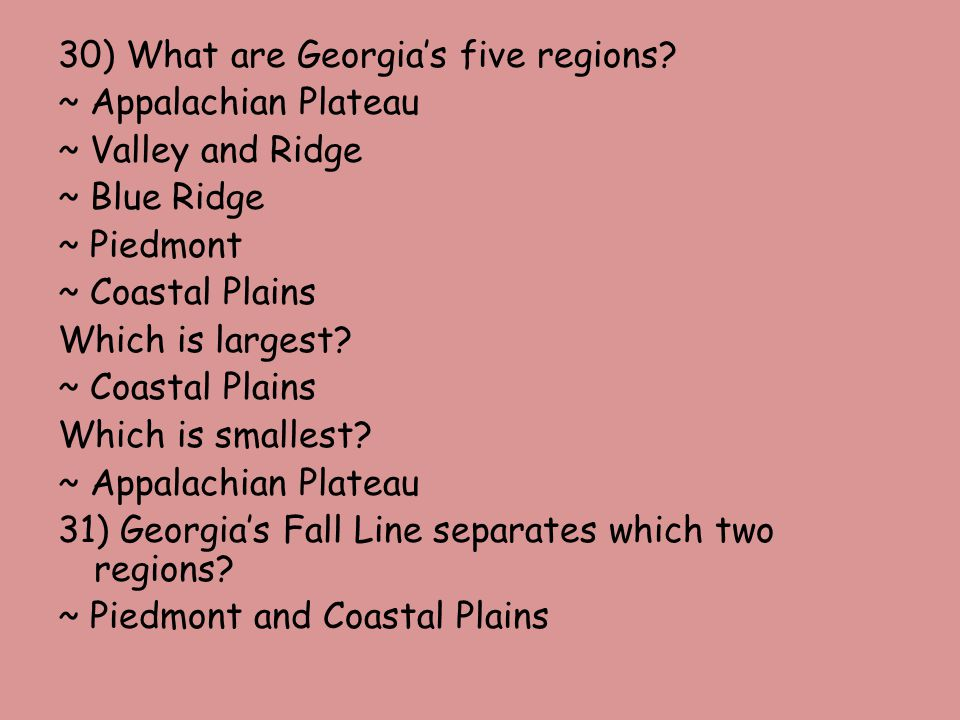30) What are Georgia's five regions