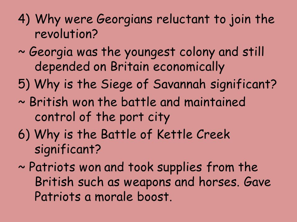 Why were Georgians reluctant to join the revolution