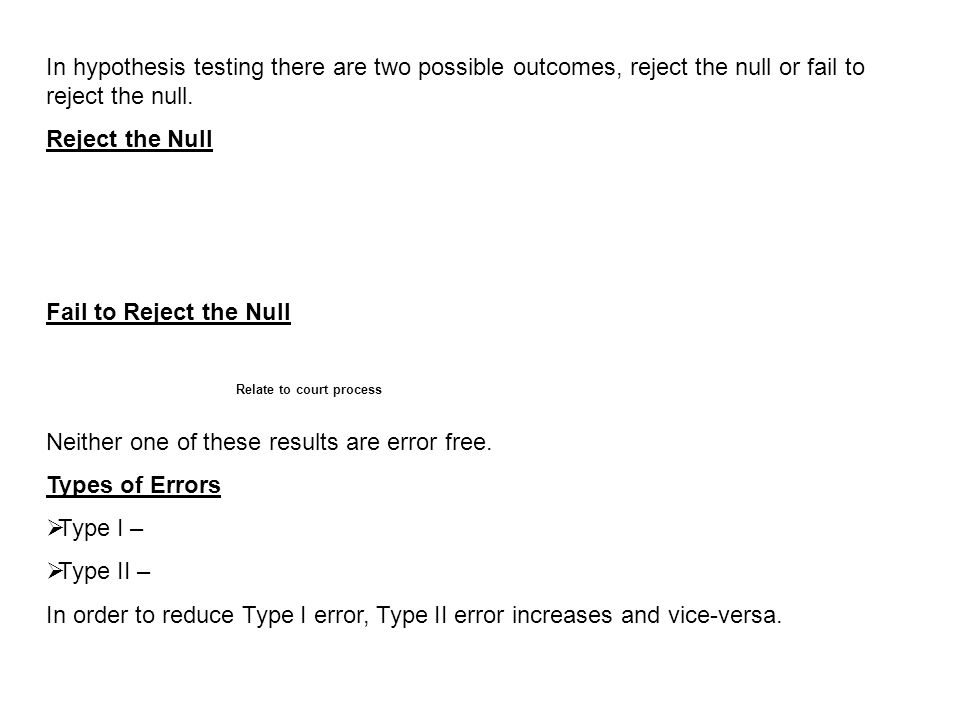 Neither one of these results are error free. Types of Errors Type I –