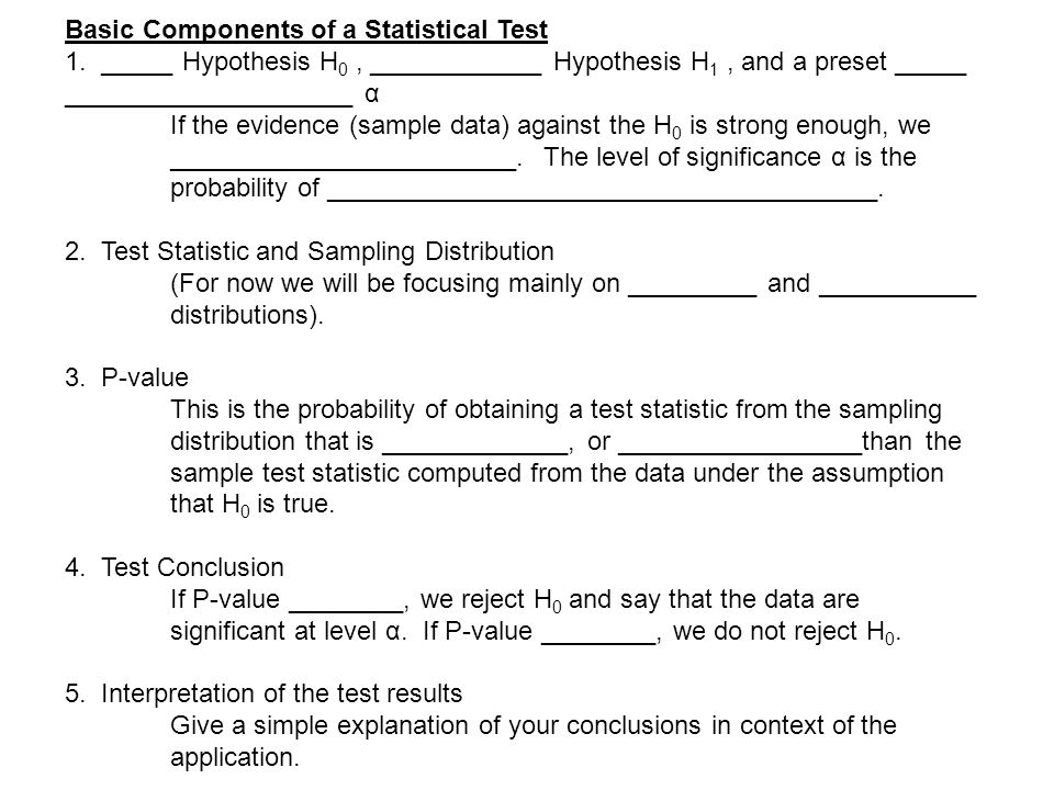 Basic Components of a Statistical Test