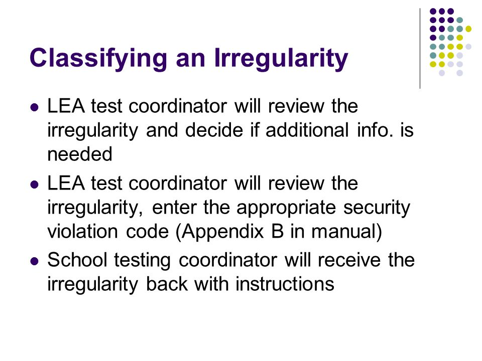 Classifying an Irregularity