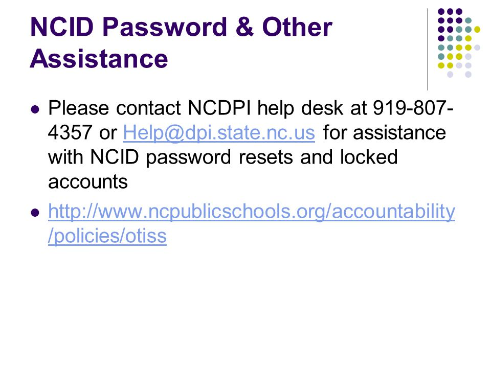 NCID Password & Other Assistance