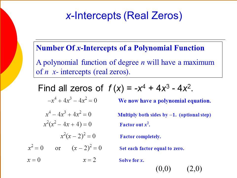 x-Intercepts (Real Zeros)