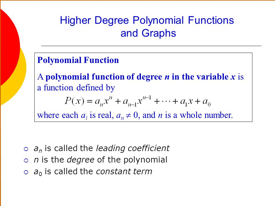 Higher Degree Polynomial Functions and Graphs