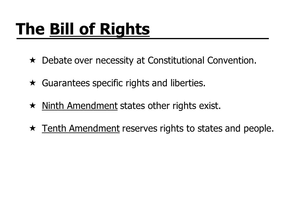The Bill of Rights Debate over necessity at Constitutional Convention.