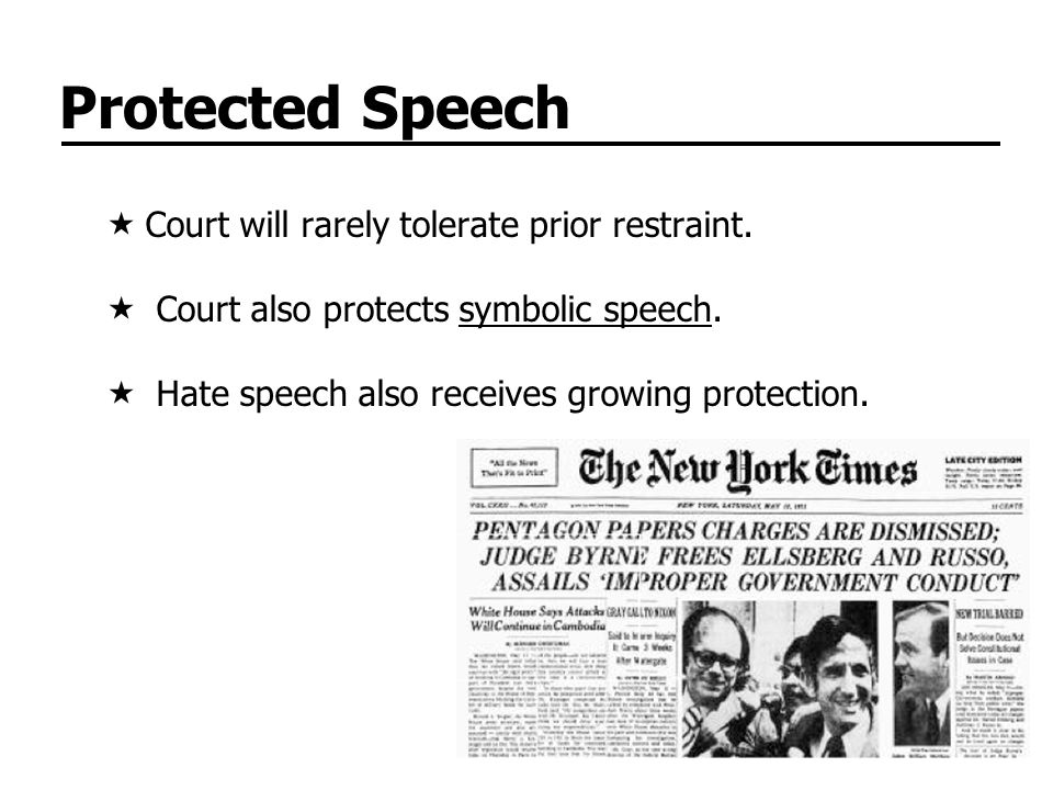 Protected Speech Court will rarely tolerate prior restraint.