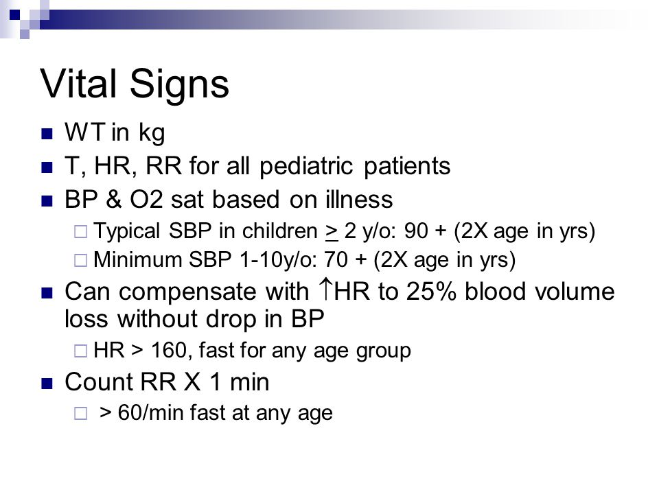Vital Signs WT in kg T, HR, RR for all pediatric patients