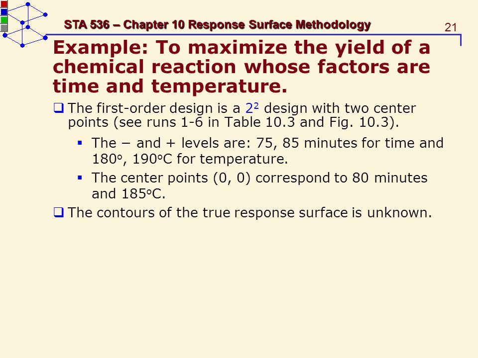 Example: To maximize the yield of a chemical reaction whose factors are time and temperature.