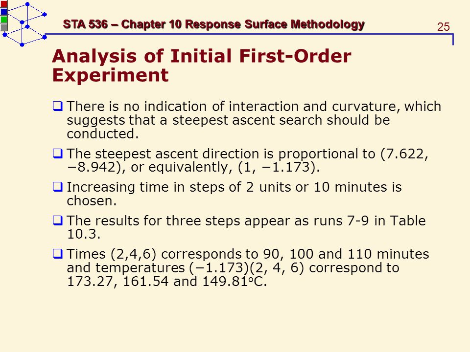 Analysis of Initial First-Order Experiment