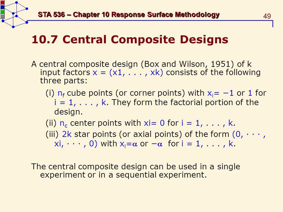 10.7 Central Composite Designs