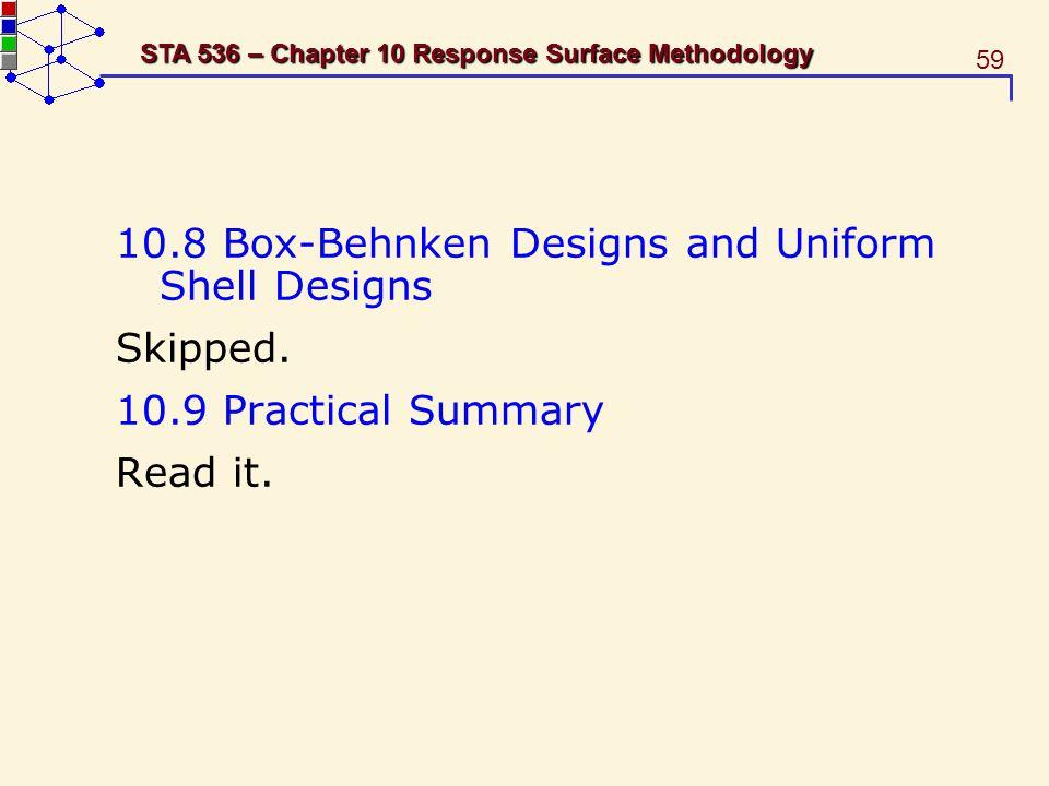 10.8 Box-Behnken Designs and Uniform Shell Designs