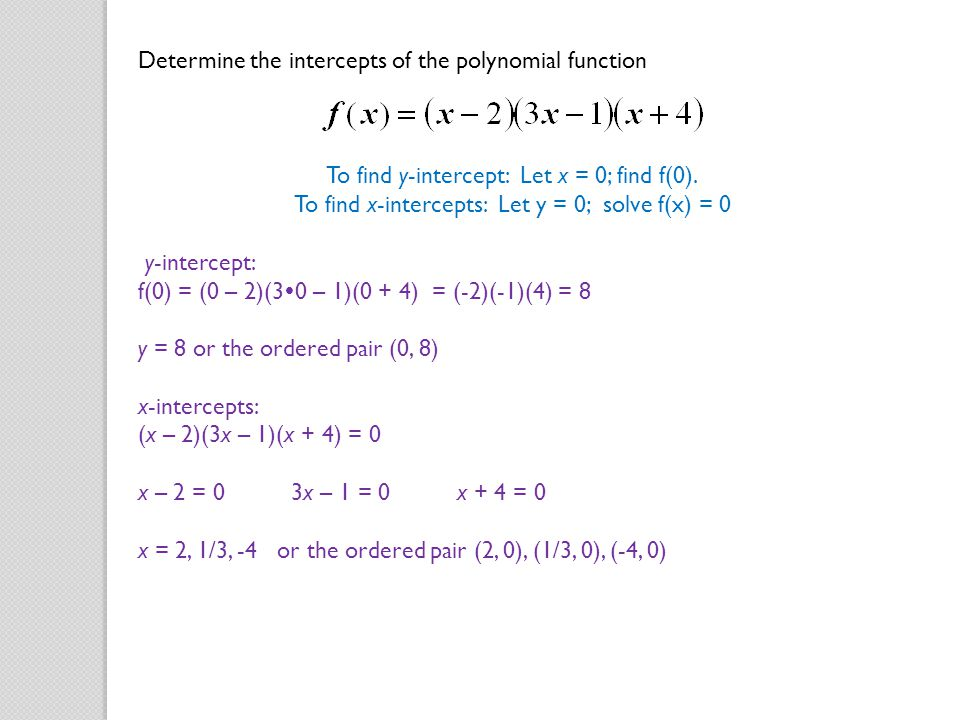 Determine the intercepts of the polynomial function