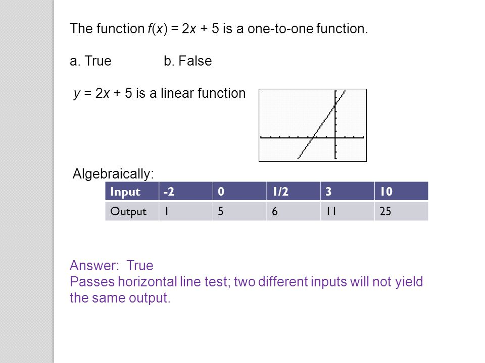 The function f(x) = 2x + 5 is a one-to-one function. a. True b. False