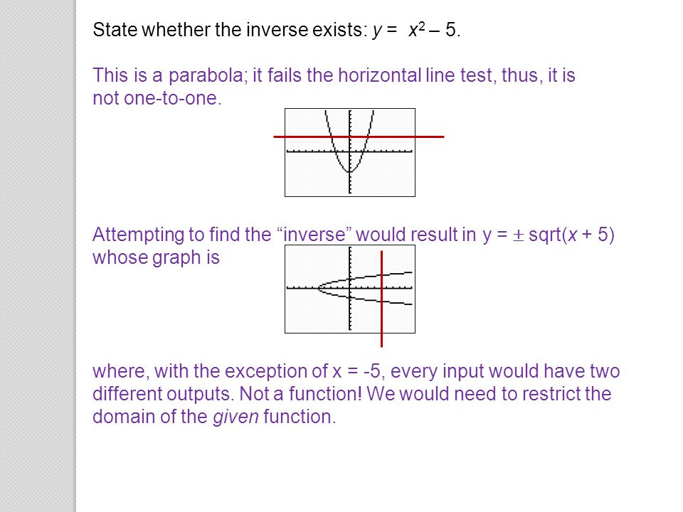 State whether the inverse exists: y = x2 – 5.