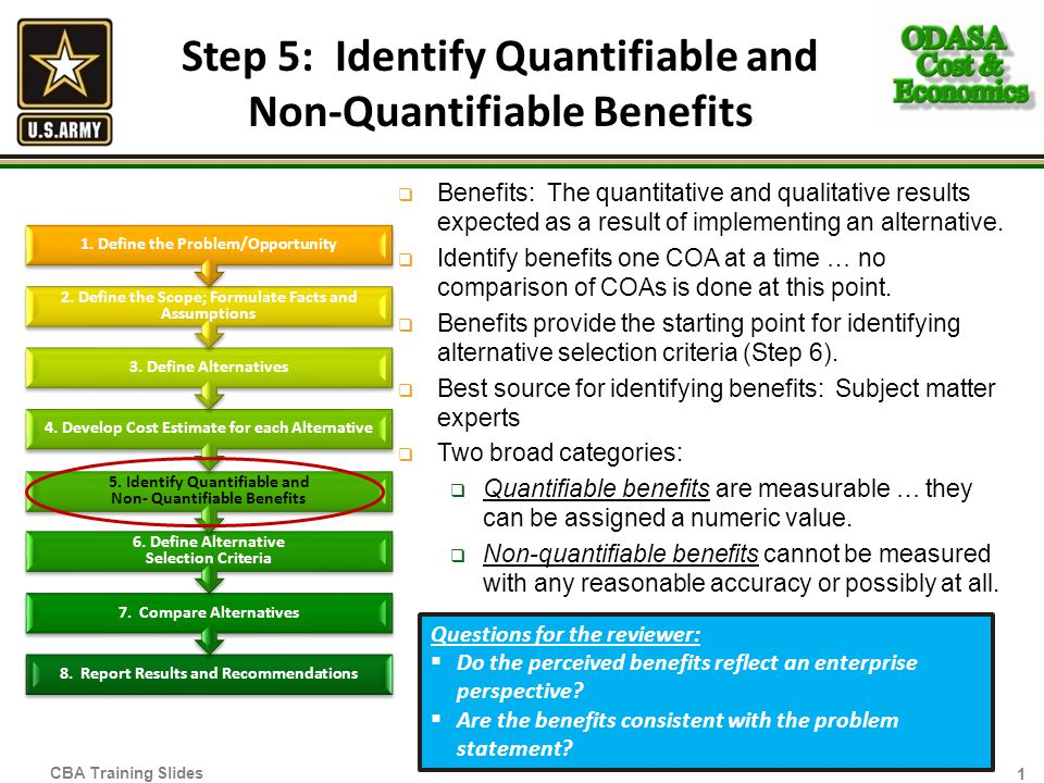 Step 5: Identify Quantifiable and Non-Quantifiable Benefits